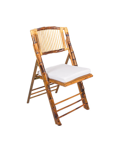 Chair Folding Bamboo With White Cushion