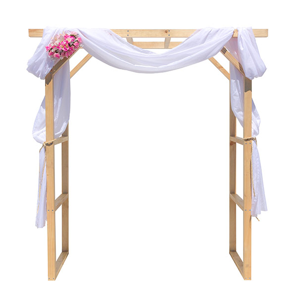 Wooden arbour with silk