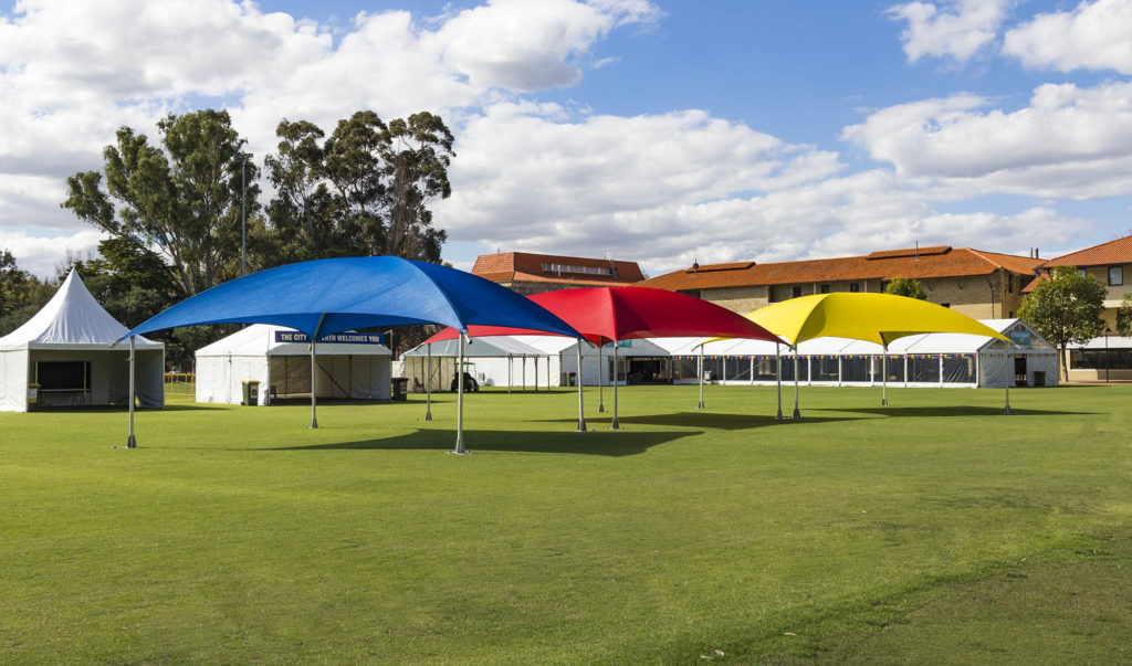 8x8m Shade Domes Red-Blue-Yellow