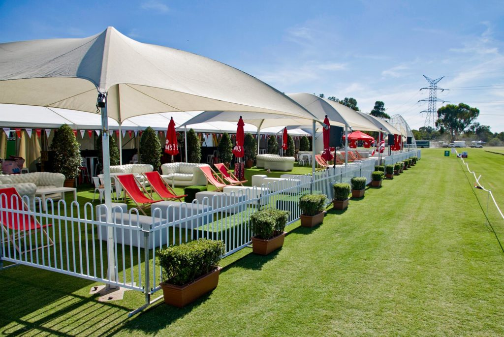 Polo in the Valley - shade domes and manor fence